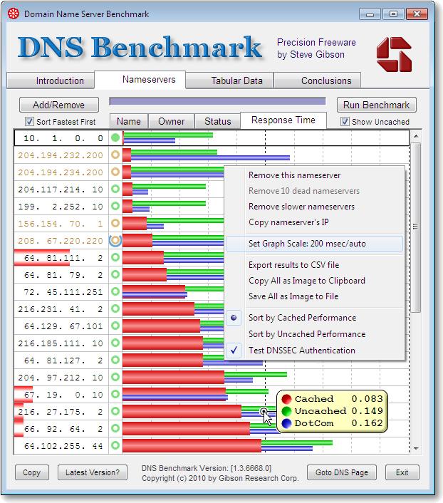 GRC's   DNS Nameserver Performance Benchmark