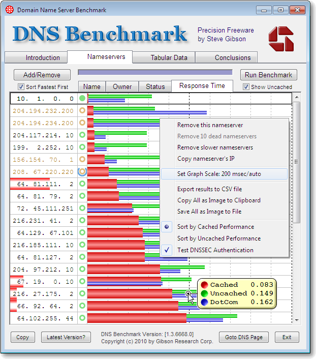 Screenshot of DNS Benchmark