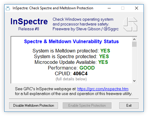 Easily examine and understand any Windows system's hardware and software capability to prevent Meltdown and Spectre attacks.
