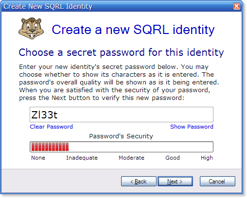 GRC's   SQRL Secure Quick Reliable Login Client Operation